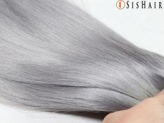 Granny Silver Gray Ombre Brazilian Remy Hair Silky Straight Wavy 3