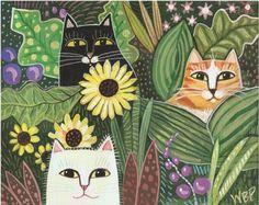 CAT FOLK PAINTING - Original Stylized Folk Art Painting by Wendy Presseisen - Garden Cats via Etsy