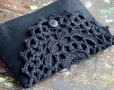 Linen clutch pouch purse makeup bag crocheted detail por namolio