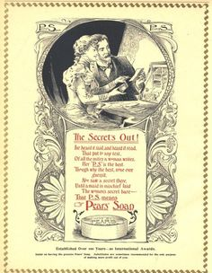 1896 I Ad Pears Soap Secret Is Out Poem Large | eBay