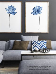 Blue Flower Watercolor Print set 2 Flowers Sapphire Blue  #blue #lotus #flower #painting #art #decor #poster #illustration #drawing