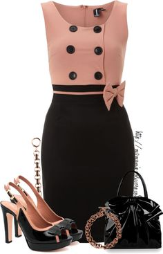 "(as a reminder - that alternating colour/stripe effect at the waist) ""Pink n Black Contest......."" by mzmamie on Polyvore"