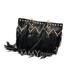 $11.85 Casual Women's Shoulder Bag With Solid Color Studs Tassels Zipper Design