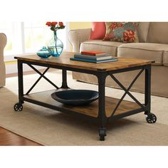 Better Homes and Gardens Rustic Country Coffee Table, Antiqued Black/Pine Finish for $89!  N.I.C.E!!!