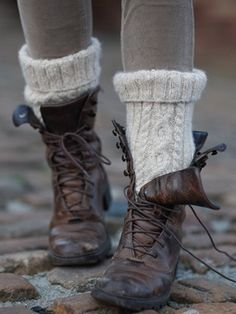 Combat boots and knit socks.