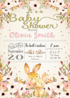 Girl baby shower invitation pink flowers summer spring x lminas baby bunny baby shower invitation digital printable invite diy party stopboris Image collections