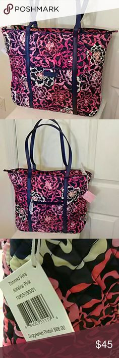 NEW Vera Bradley trimmed tote Katalina pink Large trimmed Vera tote.  Pink flowers on blue, with blue faux leather trim.  Slip pocket on the front, zip pocket on back.  Inside, polyester lining and 6 large slip pockets.  Bag zips closed or can be carried open.  Gorgeous!  I have this same color in a smaller tote, and I have other colors in this size and even a larger size.  Lots to choose from! Vera Bradley Bags Totes