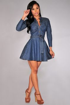 acb37e5ebd Closed belt collar single-breasted denim shirt long sleeve dress is female  Blue Jean Dresses