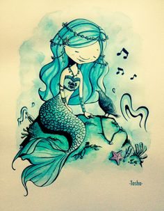 """The Hoarse Mermaid""  Mixing 2 style of illustrators that I love : Brian Kesinger & Ellina Ellis."