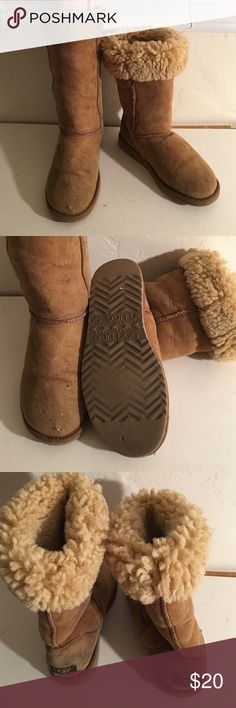 UGG CLASSIC TALL FUR LINED BOOTS LADIES 8 PREOWNED WORN GOOD CONDITION SOME COSMETIC WEAR FUR FULL AND SOFT UGG 5815 CLASSIC TALL UGG Shoes Winter & Rain Boots