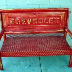 Red Chevy tailgate bench
