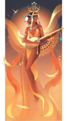 Meret ~ Egyptian Gods by Yliade on DeviantArt <<< amazing art Egyptian Art, Egyptian Jewelry, Egyptian Mythology, Egyptian Goddess, Greek Mythology Art, Illustration Art, Illustrations, Illustration Pictures, Ancient Egypt