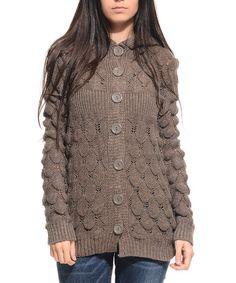 Look at this #zulilyfind! Brown Knit Hooded Cardigan by Myra Europe #zulilyfinds