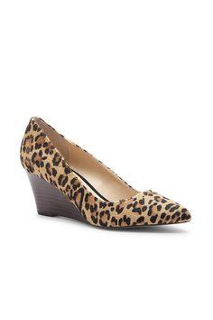 Leopard print mid heel wedge ==