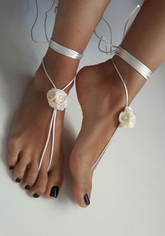 ivory barefoot sandles wedding Bikini Women Beach Bridal