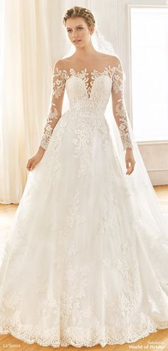 Wedding dress shop in Dubai & Lebanon for bridal gowns & evening dresses. Collections from the top wedding dress designers & bridal couture. La Sposa Wedding Dresses, Wedding Dress Prices, Lace Wedding Dress, Long Sleeve Wedding, Princess Wedding Dresses, Bridal Dresses, Lace Dress, Wedding Flowers, Dresses Dresses