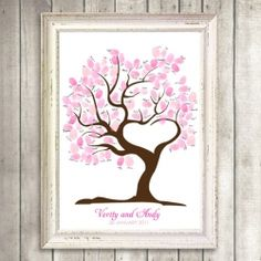 A beautiful blossom effect created with pink ink on this fingerprint guest book tree