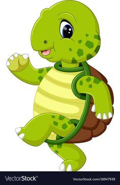 Cute turtle cartoon vector image on VectorStock Art Drawings For Kids, Disney Drawings, Cartoon Drawings, Easy Drawings, Art For Kids, Cute Turtle Cartoon, Baby Animals, Cute Animals, Turtle Images