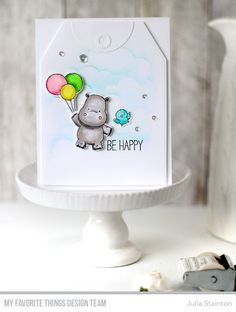 Be Happy Hippo Watercolor and Stencil Card by Julia Stainton featuring MFT Stamps