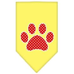Red Swiss Dot Paw Screen Print Bandana Yellow Large