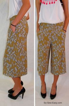 This culottes tutorial and pattern has an option of adding front pockets to the pants and you can easily transform them into long pants.