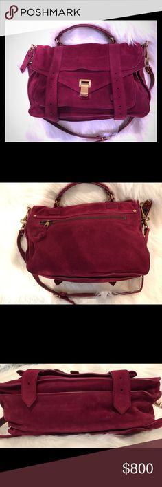 Proenza Schouler ps1 Raspberry Suede Handbag Gorgeous Proenza Schouler ps1 bag in Raspberry Suede. Bag is stunning in person. Bag is in excellent condition. There are a few small markings on the bottom of the bag but hardly noticeable. Corners all look great and inside is pristine. Bag was only carried a handful of times. Comes with shoulder strap and original dust bag. Thank you so much for looking! Proenza Schouler Bags Satchels