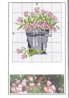 LIEBEVOLLE KREUZSTICHENTWÜRFE (LKE) Frühlingsboten2- Gartenidylle