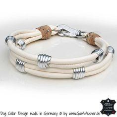 Hundehalsband Leder Elfenbein Silber