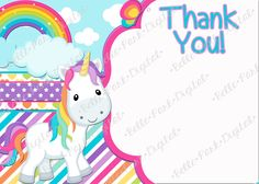 This listing is for a digital file. No physical product will be mailed. Rainbow UnicornThis can come in a 5x7 size or a 4x6 size. It also comes with a matching FREE Thank you note that you can personalize any way that you want! Please, Please, Please (Yes, I might be begging) read the following information if you have any questions about the ordering process. **We do many other items to match this design, JUST ASK! We do Invitations, Thank you cards, Cupcake wrappers, Cupcake…