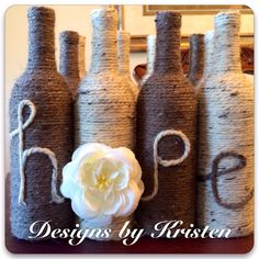 "Set of handmade ""hope"" wine bottles.  Made by me!!"