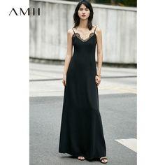 Amii Casual Women Dress 2017 Summer Solid Lace Spaghetti Strap Dresses
