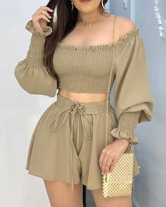 Off Shoulder Ruched Crop Top With Shorts Set Online . Trend Fashion, Girl Fashion, Womens Fashion, Girl Outfits, Cute Outfits, Fashion Outfits, Looks Chic, African Fashion Dresses, Short Tops