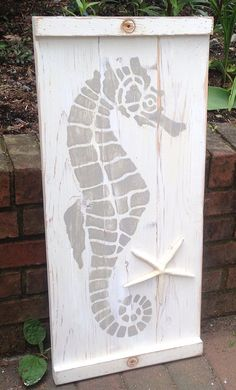 Seahorse Sign Wall Art Panel Wood Painting Beach by CastawaysHall