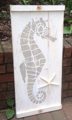 Seahorse Sign Wall Art Panel Wood Painting Beach by CastawaysHall Panel Wall Art, Wood Wall Art, Beach Wood, Idee Diy, Nautical Home, Coastal Art, Beach Signs, Pallet Art, Beach Crafts