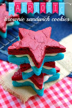 Red, white and blue brownie sandwiches