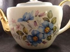 Vintage-Tea-Pot-Gibson-Staffordshire-Blue-English-Teapot-