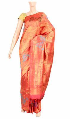 Pure Handloom Kanchi Silk Saree with Pure Zari