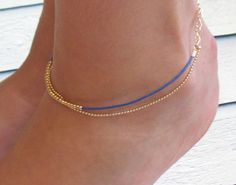 Delicate Blue And Gold Anklet - Multistrand Ankle Bracelet - Anklet Double Strand - Colorful Anklet - Beaded Anklet from Galis2014 on Etsy