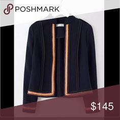 Boden Laura Military jacket - $290, Spring '17 Spring 2017 item, now $290 on Boden site. Brand new, never worn or tried on.  figure-flattering cut, lightweight, feminine jacket will have everyone standing to attention.  dashing military style with epaulettes and bold contrast trims. Wear it and command instant respect, from the high seas to afternoon teas.  Outer 53% polyester 43% wool 4% elastane Sleeve lining 100% polyester Dry clean only Straight shape Length finishes at top hip Full…