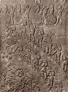 Ancient Replicas - Relief of Slaves in a Quarry, Relief of Slaves in a Quarry, alabaster, South-West Palace of Sennacherib (704-681 BCE), Court VI, Nineveh, w: 74 cm. From the Neo-Assyrian Period, 1000 BCE - 612 BCE Found in Nineveh
