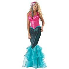 Mermaid Elite Collection Adult ($50) ❤ liked on Polyvore featuring costumes, halloween costumes, pirate halloween costumes, mermaid halloween costume, adult mermaid halloween costume, belle costume and adult transformer costume