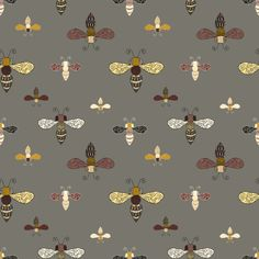 Ornate Bees on Gray by seesawboomerang