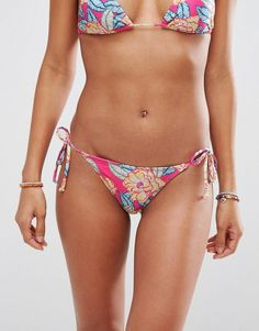 ASOS Mix and Match Tie Side Brazilian Bikini Bottom in Carnival Floral