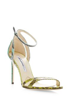 Cora Snakeskin Sandals by Brian Atwood Now Available on Moda Operandi