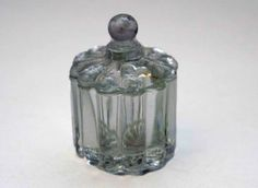 Small Antique Sugar Ribbed Elegant Glass with Lid
