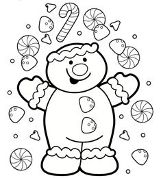 Printable Christmas a happy gingerbread boy coloring page - Printable Coloring Pages For Kids by tunmunda Frozen Coloring Pages, Coloring Pages For Boys, Coloring Book Pages, Printable Christmas Coloring Pages, Christmas Printables, Christmas Coloring Sheets For Kids, Christmas Tree Colouring Page, Christmas Colors, Christmas Fun
