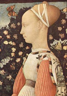 Pisanello - Portrait of a Princess of the House of Este. 1436-1438. Tempera on wood. 43 x 30 cm. Louvre Museum, Paris