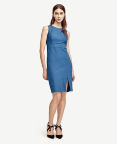 "Power+shift:+rich+color,+refined+texture+and+an+alluring+front+slit+come+together+to+create+the+perfect+day-to-play+outfit.+Jewel+neck.+Sleeveless.+Inset+waistband.+Front+slit.+Hidden+back+zipper+with+hook-and-eye+closure.+Lined+bodice.+22""+from+natural+waist."
