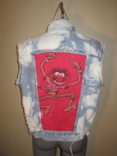 Upcycled Denim Vest Animal from the Muppets by GrapesAndBananas, $55.00 #animal #muppets #drummer #upcycled #bleached #destroyed