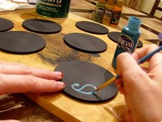 Last Minute Gifts: chalkboard coasters
